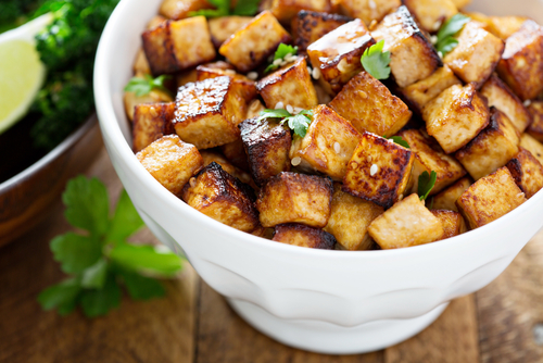 Stir fried tofu with greens
